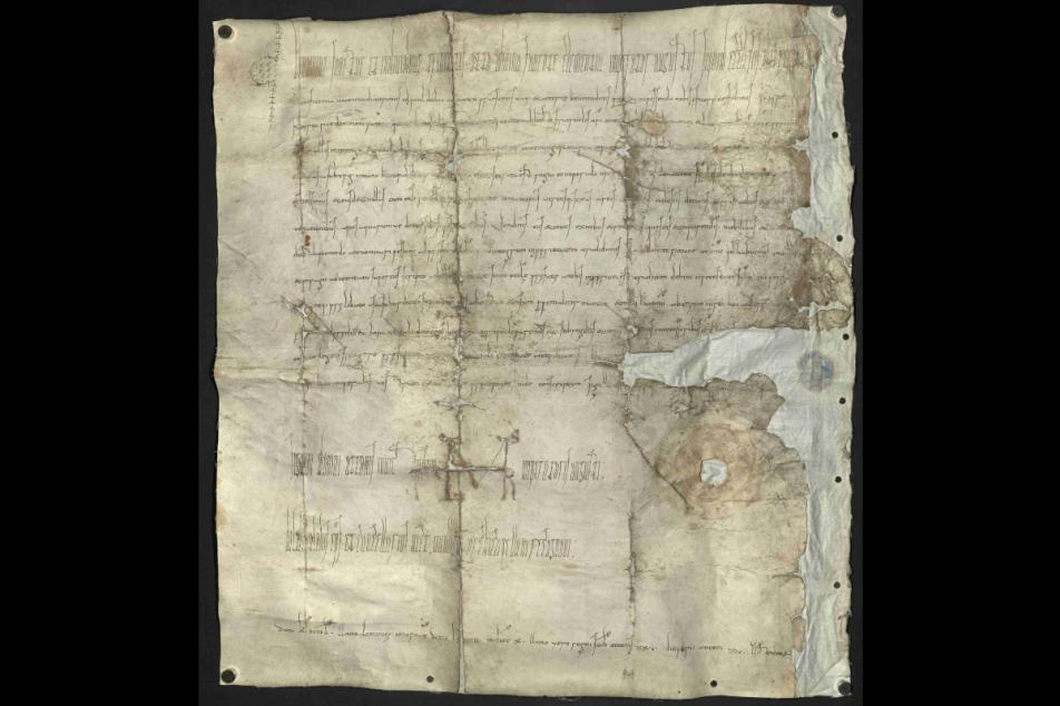 Die wiedergefundene Urkunde Kaiser Ottos II. Foto: Stadt- und Stiftsarchiv Aschaffenburg