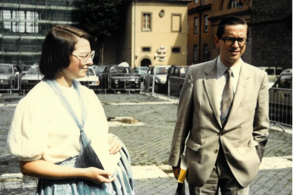 Martina Hartmann und Rudolf Schieffer 1984 auf Rom-Exkursion. Foto: Letha Böhringer