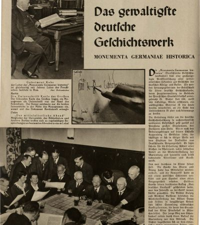 """Wochenzeitschrift """"Die Woche"""" vom 9.6.1934, Beitrag über MGH 1. MGH-Archiv K 208"""