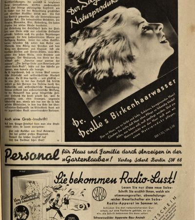 """Wochenzeitschrift """"Die Woche"""" vom 9.6.1934, Beitrag über MGH 4. MGH-Archiv K 208"""
