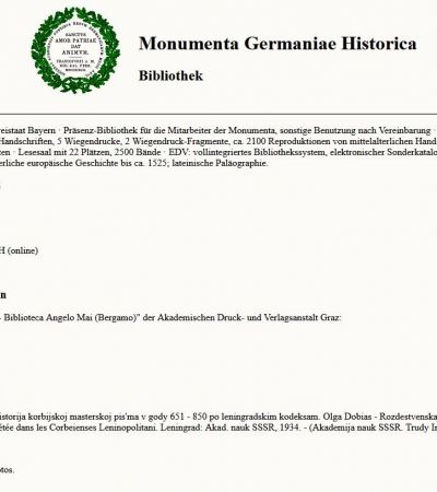 Unterseite MGH-Bibliothek: 1998 geht der MGH-OPAC online!