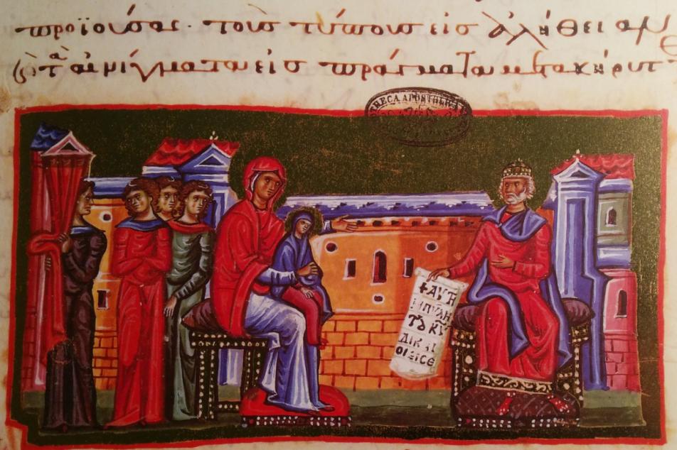 Marienhomiliar des Mönchs Jakobos von Kokkinobaphos, 12. Jhdt. Fotos: MGH/Rommel