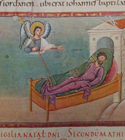 Codex Egberti, Josef erscheint im Traum ein Engel. Foto: MGH/Rommel