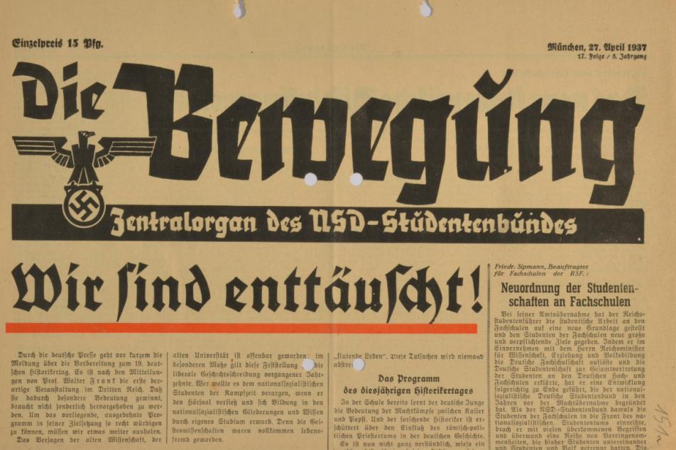 Zeitungsartikel vom 27. April 1937. MGH-Archiv B 545,2, Bl. 151a. Foto: MGH/Ingo Seufert