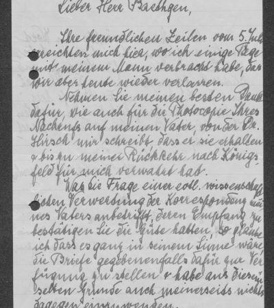 Brief Helene Schweitzer-Bresslaus an Friedrich Baethgen mit eigenhändigem Gruß Albert Schweitzers, S. 1. MGH-Archiv B 699