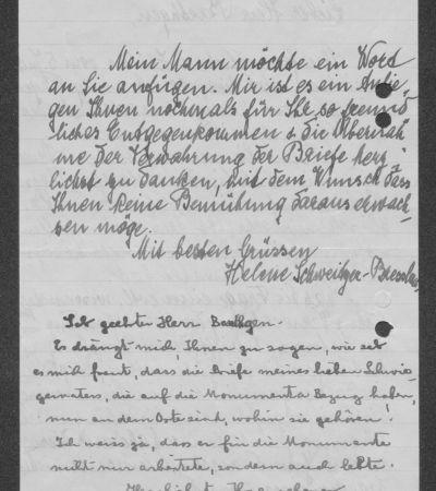 Brief Helene Schweitzer-Bresslaus an Friedrich Baethgen mit eigenhändigem Gruß Albert Schweitzers, S. 2. MGH-Archiv B 699