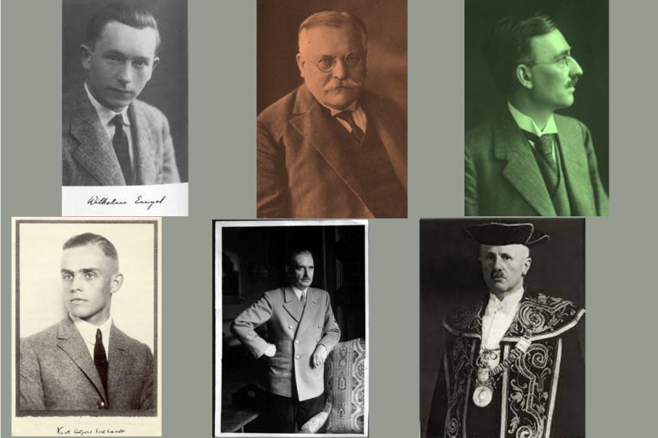 (v.l.n.r.) oben: Wilhelm Engel, Paul Fridolin Kehr, Edmund Ernst Stengel; unten: Karl August Eckhardt, Bernhard Rust, Theodor Mayer